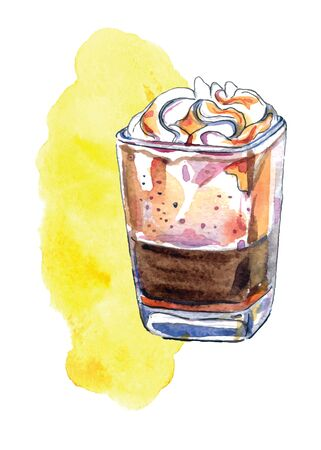 Watercolor illustration of glass of espresso with caramel, vector illustration