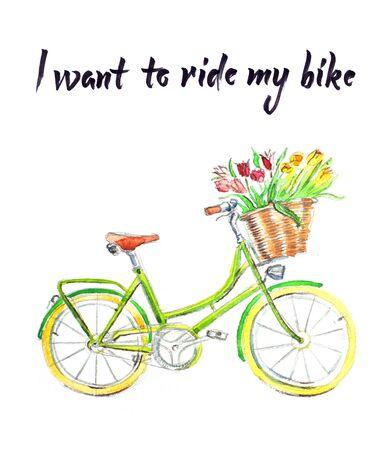 illustration, bicycle with basket, I want to ride my bike Stok Fotoğraf