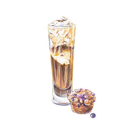 Watercolor Irish coffee, latte in glass, dessert, cupcake muffin, hand drawn illustration