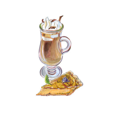 Raster illustration of coffee affogato and buttermilk pie 免版税图像