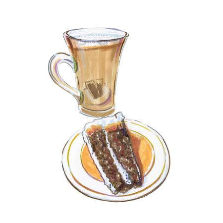 Watercolor galao coffee, Portuguese milk coffee drink, devils food cake on plate, devil's food cake, vector illustration