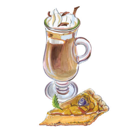 Vector illustration of coffee affogato and buttermilk pie