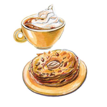 Watercolor coffee con panna, cake delices de Paris, vector illustration