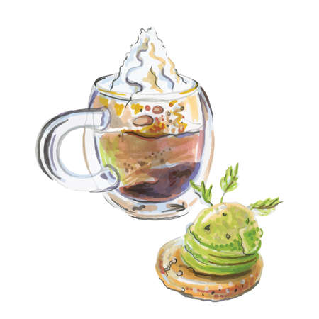 Watercolor coffee con panna, cake with light green ice, vector illustration