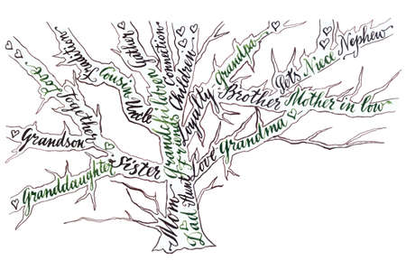 Hand drawn calligraphy, Family tree, green, black color, vector illustration