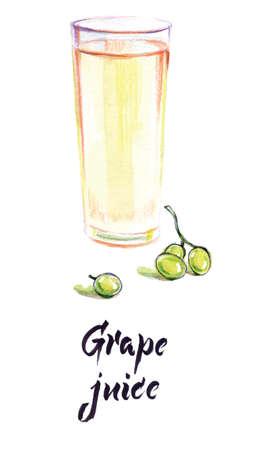 Watercolor illustration, grape juice in glass, sprig of grapes, vector illustration Ilustração