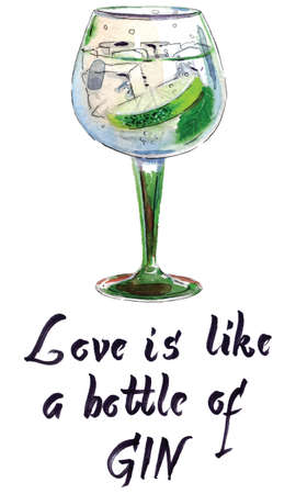 Love is like a bottle of gin, Gin with ice and lime slice, watercolor, hand drawn Illustration, vector illustration