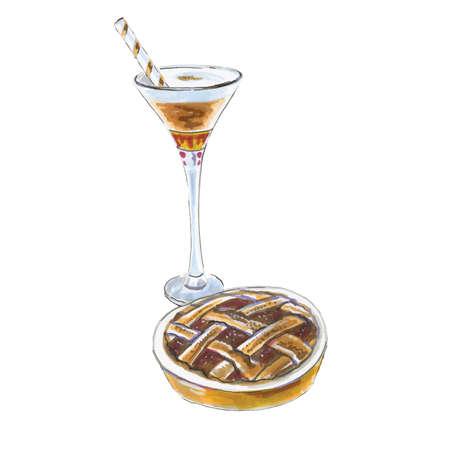 Watercolor coffee mead raf, espresso coffee with honey, cake, grape pie, vector illustration