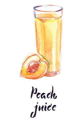 Watercolor illustration, peach juice in glass, sliced peach fruit, vector illustration