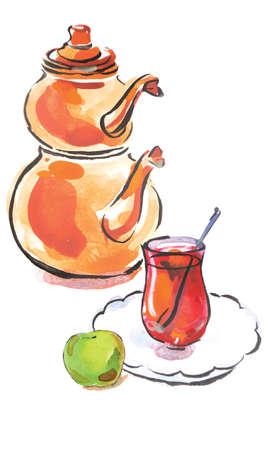 Watercolor hand drawn turkish tea with turkish kettle, Illustration, vector illustration