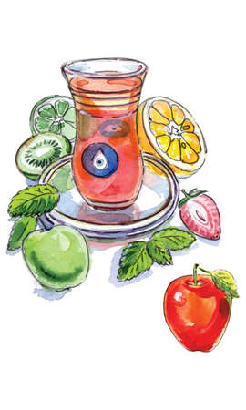 Turkish apple tea in traditional glass cup with fresh fruit and lemon balm, watercolor, hand drawn, Illustration, vector illustration