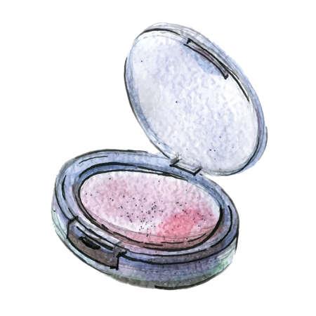 Watercolor illustration of pink blush in black packaging 矢量图像
