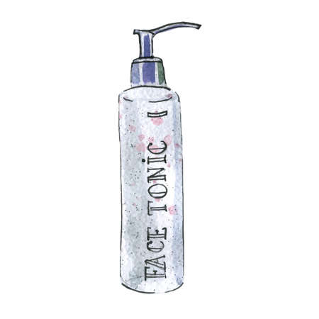 Watercolor illustration of face tonic in white packaging 矢量图像