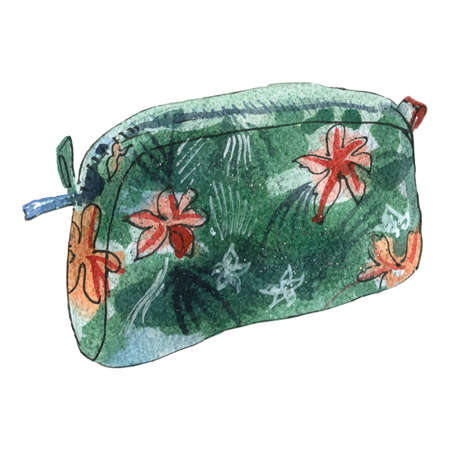 Watercolor illustration of cosmetic bag, green color with flowers 矢量图像
