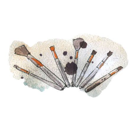 Watercolor illustration of makeup brushes, on background