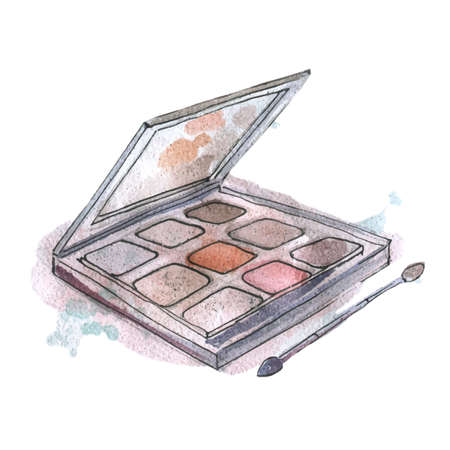 Watercolor illustration of eyeshadow in gray packaging, on background