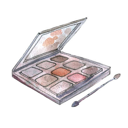 Watercolor illustration of eyeshadow in gray packaging 矢量图像