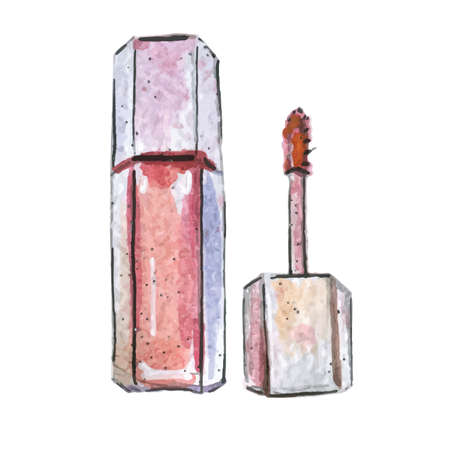 Watercolor illustration of lip gloss, pink color