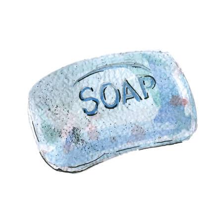 Watercolor illustration of piece of soap, blue color 矢量图像
