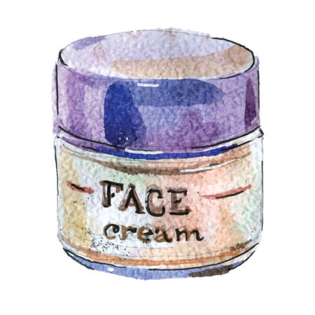 Watercolor illustration of face cream in white packaging with a blue cover 矢量图像