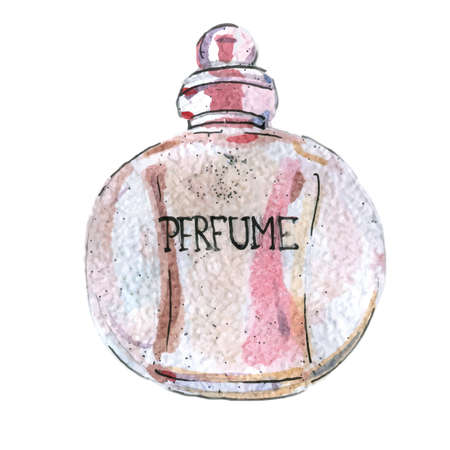 Watercolor illustration of perfume bottle, pink color