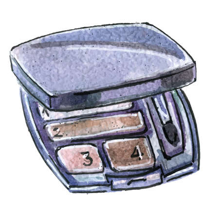 Watercolor illustration of eyeshadow in black packaging