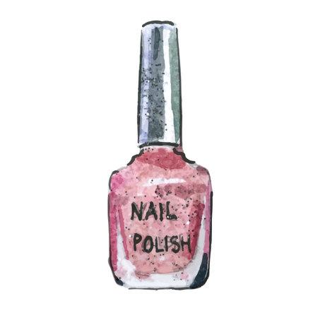 Watercolor illustration of nail polish, pink color