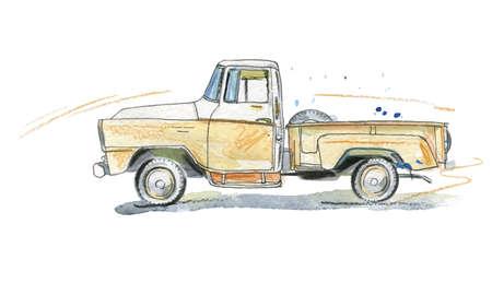 Watercolor illustration of retro car of yellow color, vector 矢量图像
