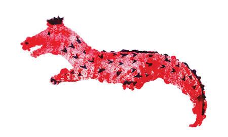 Screen hand printing, stamp ink, red crocodile, vector 矢量图像
