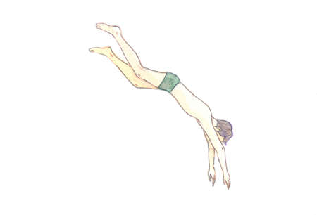 Watercolor illustration, hand-drawn, jumping man in swimsuit trunks 矢量图像