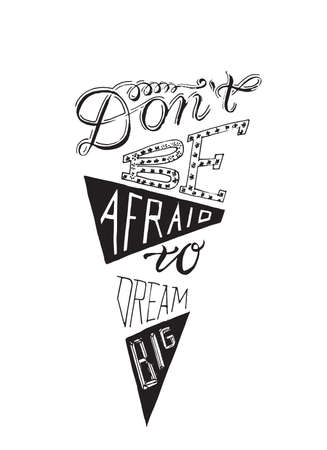 Hand-drawn lettering  encased in triangle or cone shape, vector