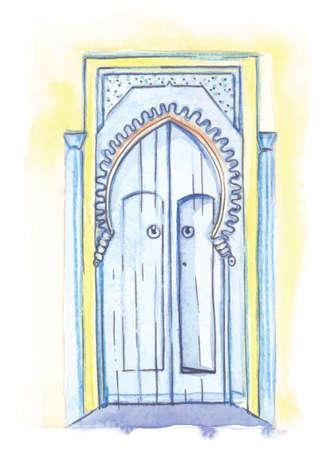 Watercolor illustration, hand-drawn, door in Morocco, blue color, vector