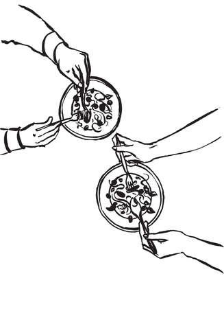 Family or friends dinner. Hand drawn illustration, vector