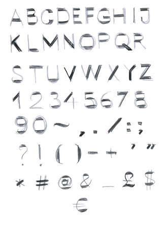 English alphabet, latin. Elements for design. Numerals, vector