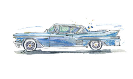 Watercolor illustration of retro car of blue color, vector