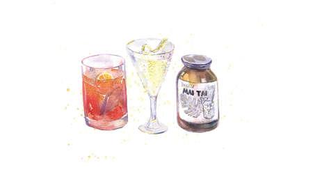 Watercolor illustration of beverages, martini, negroni and mai tai, vector 矢量图像