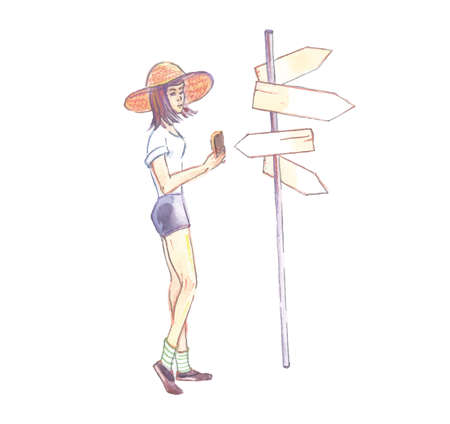 Watercolor illustration, hand-drawn, a girl in a hat, shorts, near arrow pointers, vector