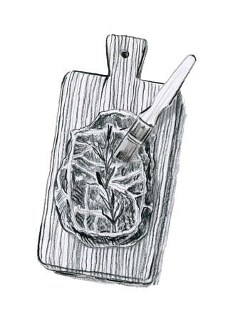 Hand-drawn illustration of meat on desk made with charcoal pencil, vector