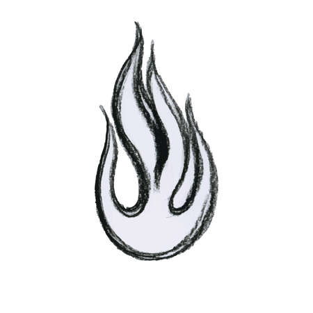 Hand-drawn illustration of fire flame made with charcoal pencil, vector