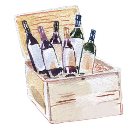 Watercolor illustration of wooden opened wine box, hand-drawn illustration, vector