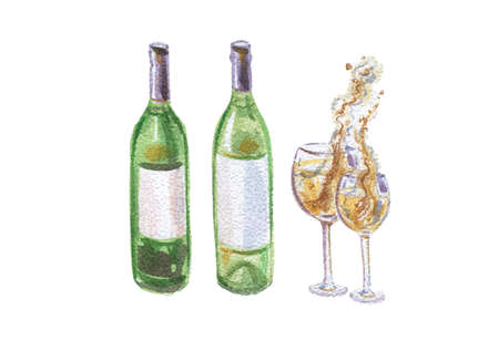 Watercolor illustration of wine bottles and goblets, vector