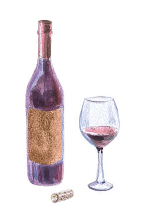 Watercolor illustration of wine bottles, goblet, cork, vector