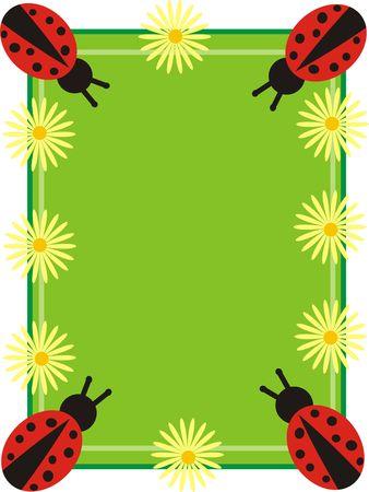 frame with ladibugs photo