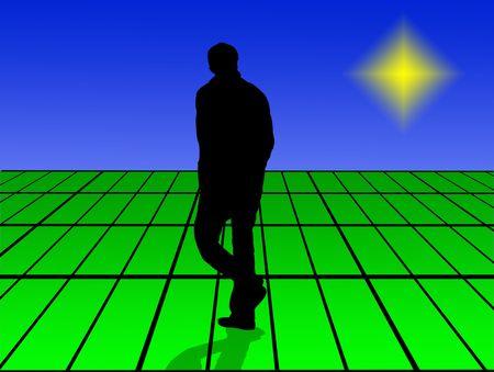 hombre solitario: hombre solitario camina en mundo virtual Foto de archivo