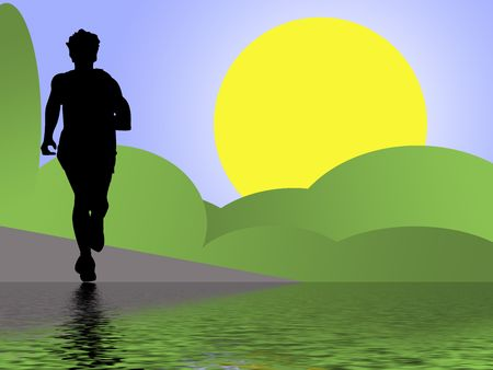 silhouette of running woman photo