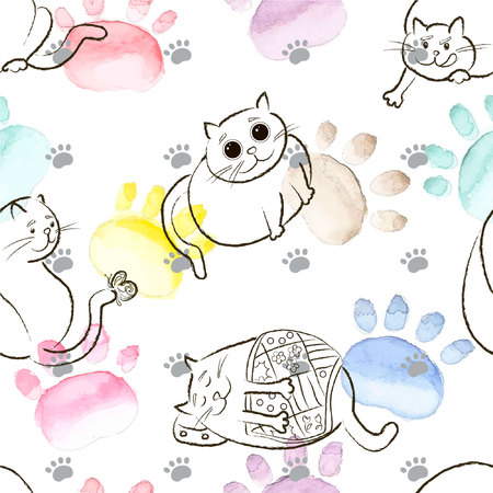 Seamless background pattern. Sketch fat cat in vector. Watercolor, hand drawn.