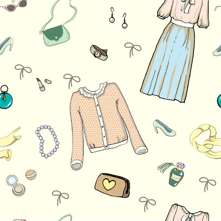 Beckground, set of drawing female clothes in vector on beage background Çizim