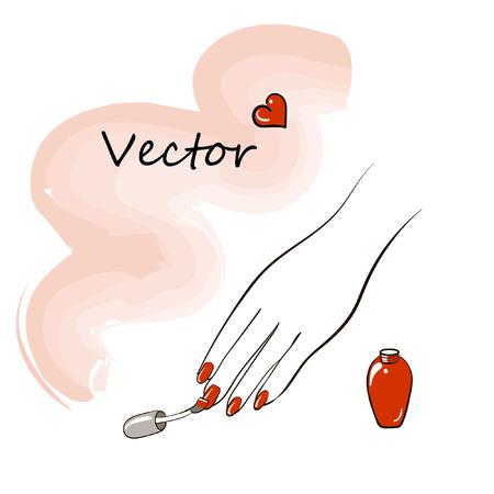 Een vector afbeelding van een vrouwelijke hand die een rode vernis op nagels toepast Stock Illustratie