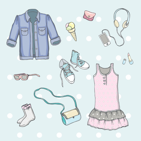 Set of drawing female clothes in vector on blue background