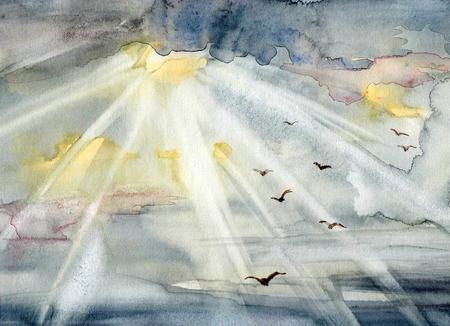 하늘, 태양 및 조류와 수채화 그림. 손으로 그린 스톡 콘텐츠